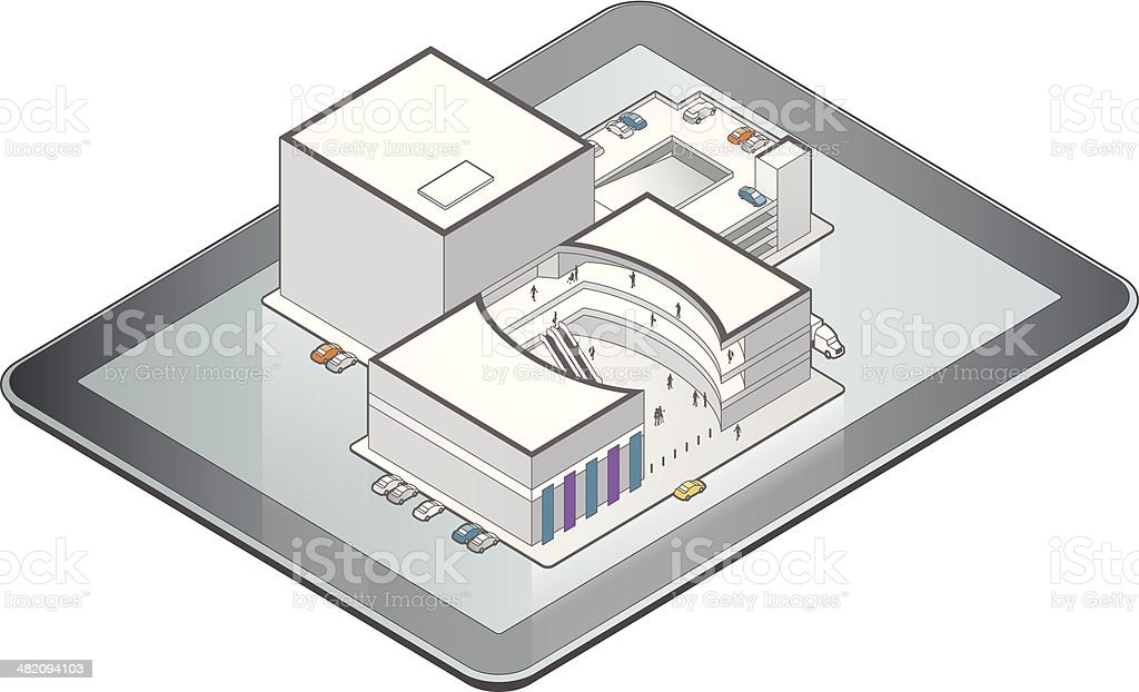 Online Shopping Mall Illustration royalty-free online shopping mall illustration stock vector art & more images of building exterior