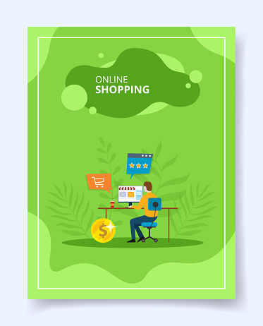 Online shopping man shop e commerce on computer for template of banners, flyer, books cover, magazines with liquid shape style