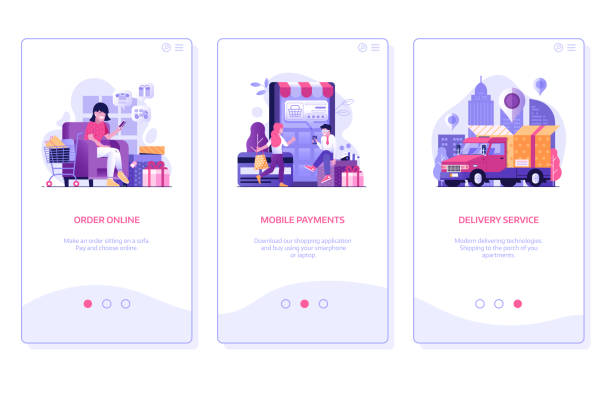 Online Shopping Mobile App Onboarding Screens in Flat vector art illustration