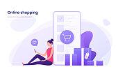 Online shopping, mobile marketing concept. Vector illustration