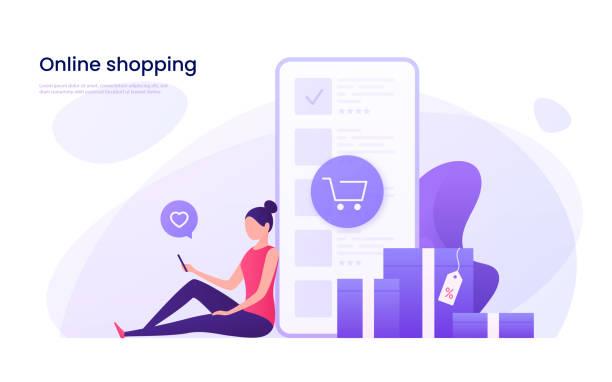 zakupy online, koncepcja marketingu mobilnego. ilustracja wektorowa. - handel detaliczny stock illustrations