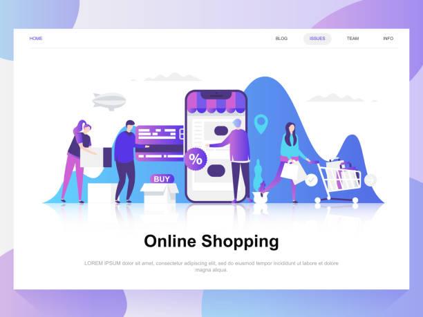 stockillustraties, clipart, cartoons en iconen met online winkelen moderne platte ontwerp. landing paginasjabloon. - illustraties van webshop