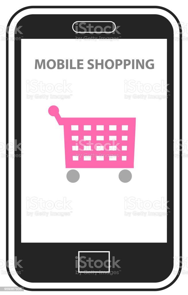 6056d1fd240 Online shopping on mobile phone vector royalty-free online shopping on mobile  phone vector stock