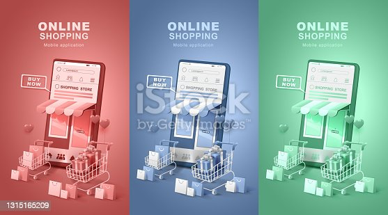 Online shopping on social media. Smartphone with shopping bag and gift box. Digital stores, Application delivery.