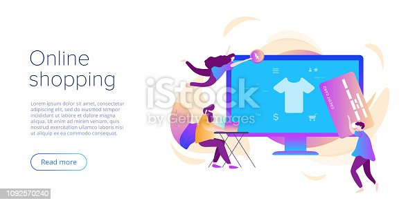 Online shopping or e-commerce flat vector illustration. Internet store checkput procedure concept with smartphone and bag. Credit card payment transaction via app.