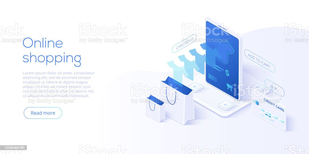 Online shopping or e-commerce isometric vector illustration. Internet store checkput procedure  concept with smartphone and bag. Credit card payment transaction via app. vector art illustration