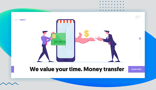 Online Shopping or E-commerce Landing Page Template. People with Mobile Phone Buying Things Using Cashless Payment. Business Man Character Put Credit Card in Smartphone. Cartoon Vector Illustration