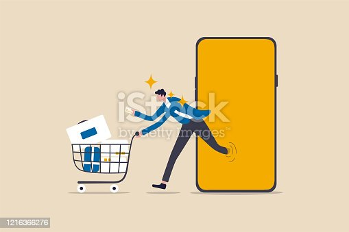 istock Online shopping or mobile shopping app concept, young man consumer holding credit cart pushing full of goods and box packages in shopping cart trolley running from website or app on mobile smart phone 1216366276