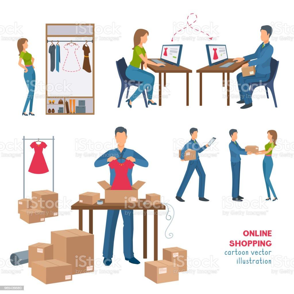 Processo de compra on-line.  Ilustração dos desenhos animados. - Vetor de Adulto royalty-free