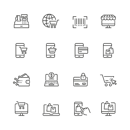 Online shopping related icons