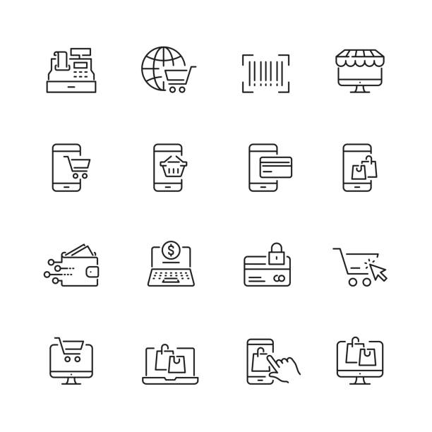 Online shopping related icons Online shopping related icons: thin vector icon set, black and white kit online shopping stock illustrations