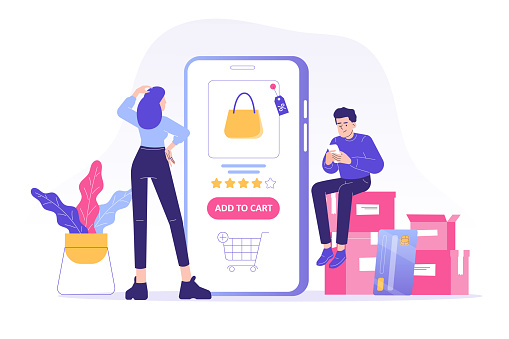 Online shopping service concept. Young woman and man customers sitting on boxes ordering with huge smartphone app. Ordering with online payment. Purchase. Shipping. Isolated stock vector illustration