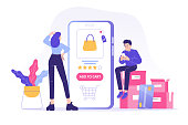istock Online shopping service concept. Young woman and man customers sitting on boxes ordering with huge smartphone app. Ordering with online payment. Purchase. Shipping. Isolated stock vector illustration 1220423068