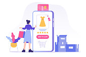 istock Online shopping service concept. Young woman customer holding colorful shopping bags and ordering with smartphone app. Ordering with online payment. Purchase. Isolated stock vector illustration 1220423090