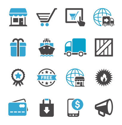 Online Shopping & Shipping Icon Set | Concise Series