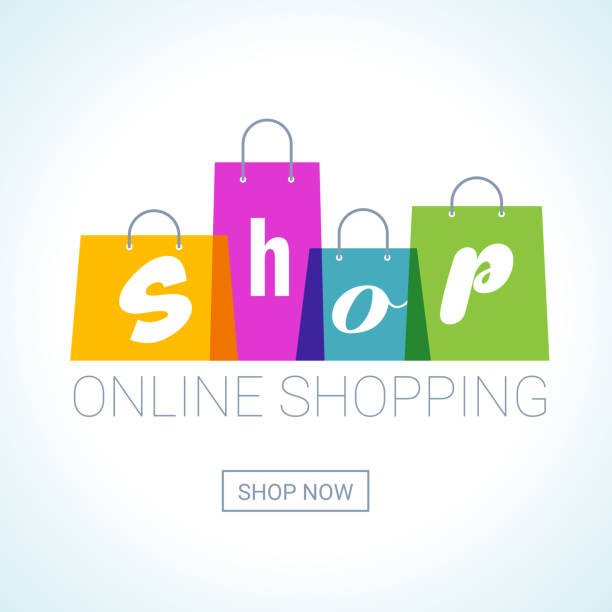 online shopping. shopping bags logo. internet shop concept - kupować stock illustrations
