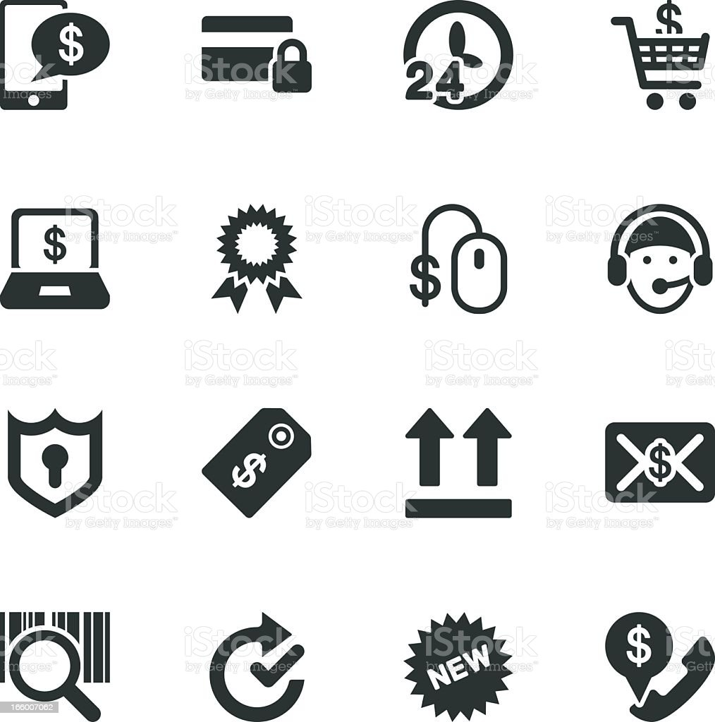 Online shopping Silhouette Icons royalty-free stock vector art