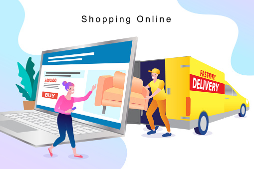 Online shopping site for furniture and home decoration design with laptop. Webpage, app design. flat vector illustration.