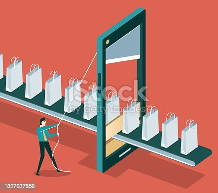 Online shopping - Smartphone - shopping bag