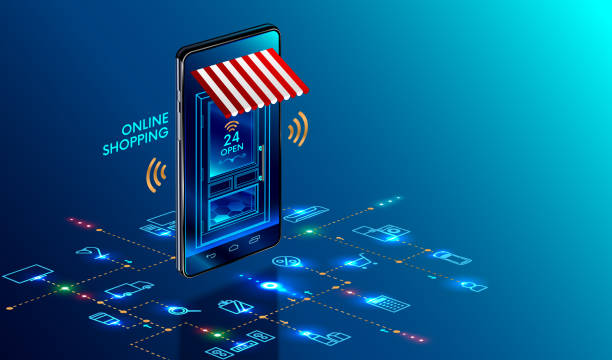 Online shopping. Smartphone turned into internet shop. Concept of mobile marketing and e-commerce. Isometric supermarket smartphone with icons of purchases. Awning above online store front door. vector art illustration