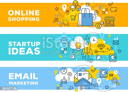 Online shopping & startup ideas concept on color backgrounds with title. Vector set of banner illustrations with business elements. Thin line art flat style design for web, site, banner, business presentation