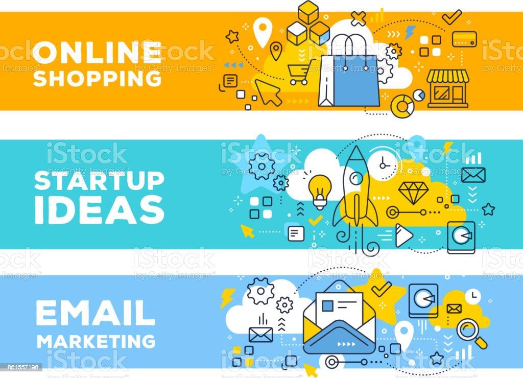 Online-shopping & Startup Ideen Konzept auf Farbe Hintergrund mit Titel. – Vektorgrafik