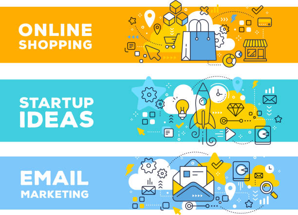 Online shopping & startup ideas concept on color backgrounds with title. Online shopping & startup ideas concept on color backgrounds with title. Vector set of banner illustrations with business elements. Thin line art flat style design for web, site, banner, business presentation online shopping stock illustrations