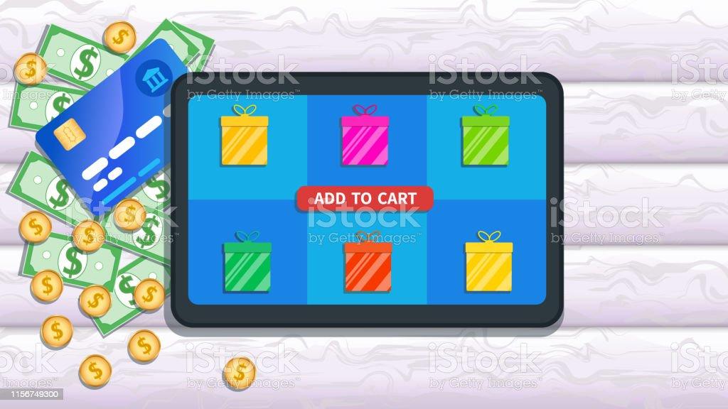 Carte Cado E Commerce.Shopping En Ligne Magasin Concept Ecommerce Tablette Plate Avec Licone De Boites De Cadeau Et Ajoutez Au Bouton De Chariot Sur Lecran Tactile