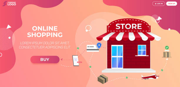 Online Shopping Store Landing Page Premium Vector vector art illustration