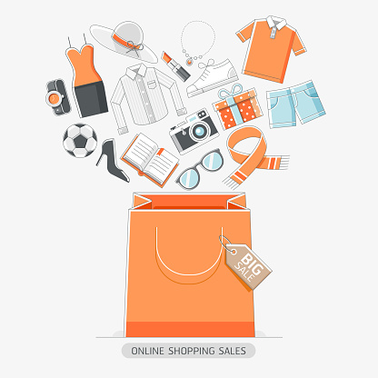 Online shopping stores conceptual line icons style.
