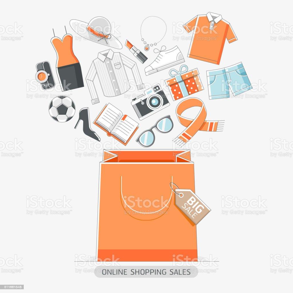 Online-shopping-stores konzeptionellen Linie icons-Stil. – Vektorgrafik