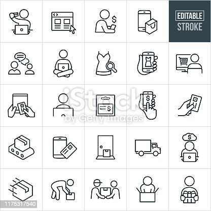A set of online shopping icons that include editable strokes or outlines using the EPS vector file. The icons include customers shopping online using computers and different electronic devices. They include a person shopping from a laptop while holding a credit card, a website, person shopping from smartphone, customer service, shopping from a desktop computer, selecting merchandise to purchase, shopping from a tablet pc, e-commerce, gift card, package, delivered package, delivery truck, delivery and an unboxing of a delivered purchase to name just a few.