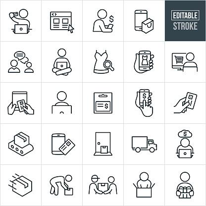 Online Shopping Thin Line Icons - Ediatable Stroke
