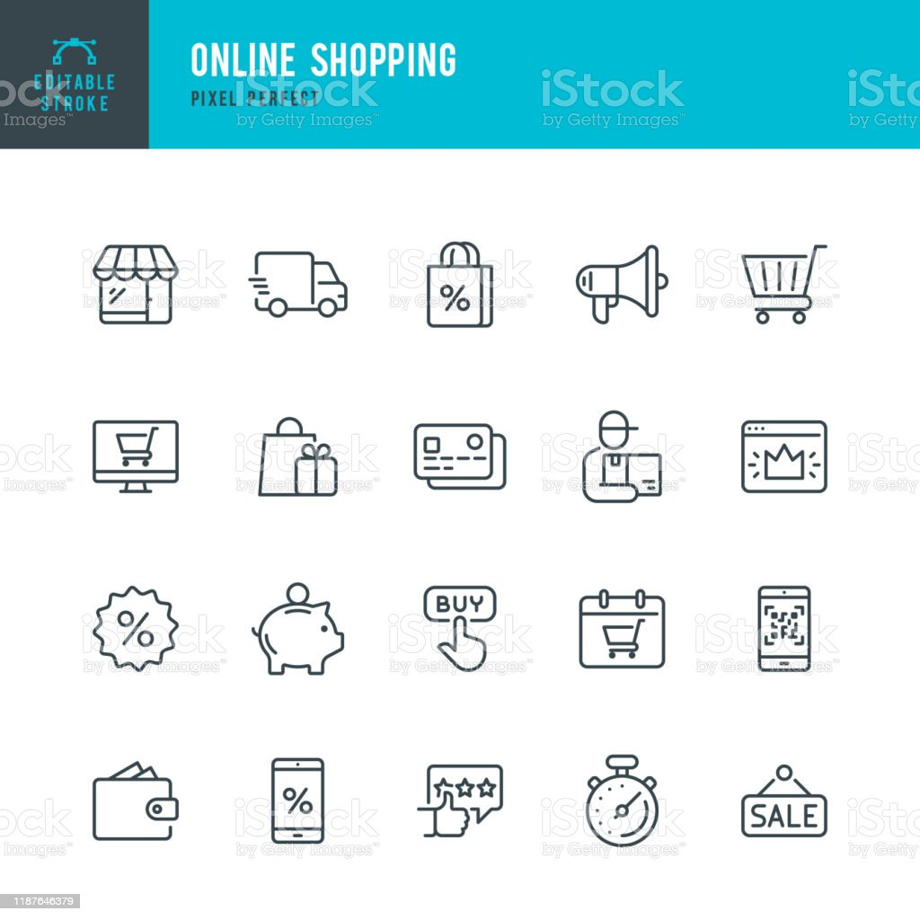 Online Shopping - thin linear vector icon set. Editable stroke. Pixel perfect. The set contains icons such as Shopping, E-Commerce, Store, Discount, Shopping Cart, Delivering, Wallet, Courier and so on. - Royalty-free Arte Linear arte vetorial