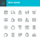 Online Shopping - thin linear vector icon set. Editable stroke. Pixel Perfect. 20 linear icon. The set contains icons such as Shopping, E-Commerce, Store, Discount, Shopping Cart, Delivering, Wallet, Sale, Credit Card, Courier and so on.