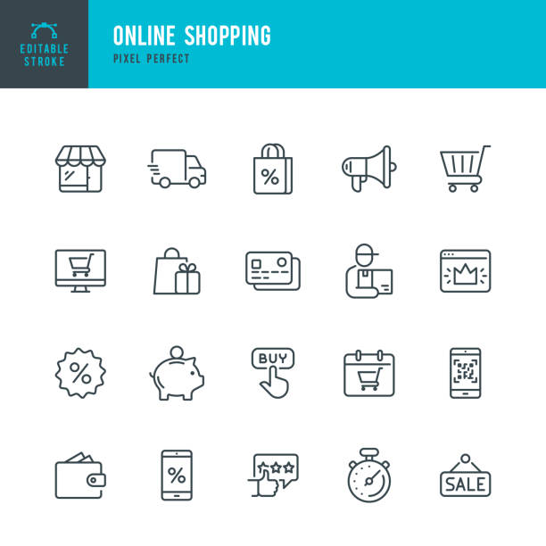 線上購物 - 薄線性向量圖示集。可編輯的描邊。圖元完美。該集包含圖示,如購物,電子商務,商店,折扣,購物車,送貨,錢包,快遞等。 - 商務 幅插畫檔、美工圖案、卡通及圖標