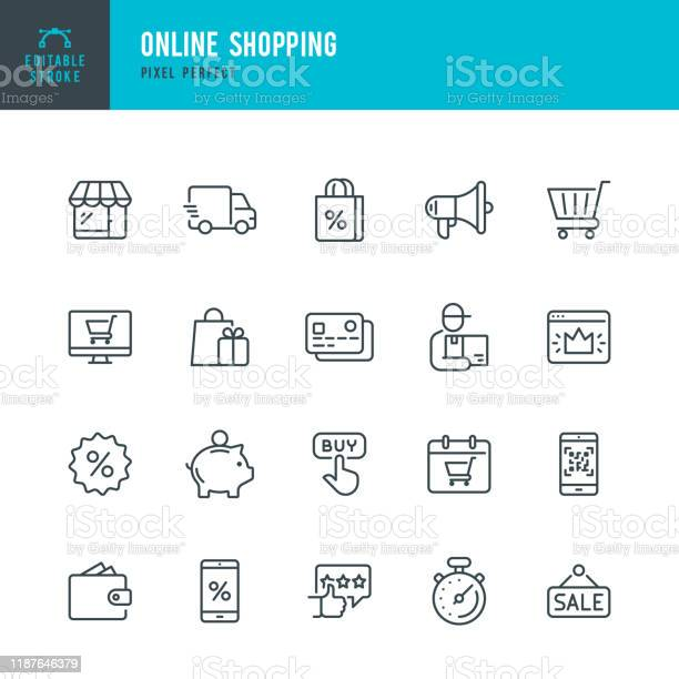 Online Shopping Thin Linear Vector Icon Set Editable Stroke Pixel Perfect The Set Contains Icons Such As Shopping Ecommerce Store Discount Shopping Cart Delivering Wallet Courier And So On - Arte vetorial de stock e mais imagens de Arte Linear
