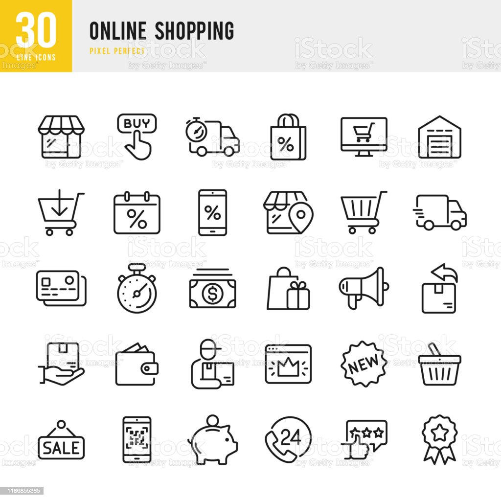 Online winkelen-dunne lineaire Vector Icon set. Pixel perfect. De set bevat iconen zoals winkelen, E-commerce, winkel, korting, winkelwagen, levering, portemonnee, koerier, enzovoort. - Royalty-free 24 Hrs - Korte frase vectorkunst