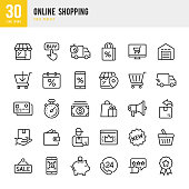 Online Shopping - linear vector icon set. Outline stroke expanded. Pixel perfect. The set contains icons such as Shopping, E-Commerce, Store, Discount, Shopping Cart, Delivering, Wallet, Basket, Credit Card, Courier and so on.