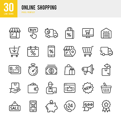 Online Shopping - thin linear vector icon set. Pixel perfect. The set contains icons such as Shopping, E-Commerce, Store, Discount, Shopping Cart, Delivering, Wallet, Courier and so on.