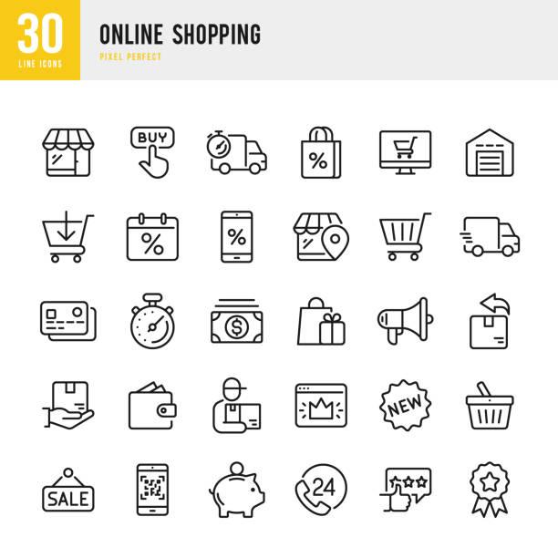 線上購物 - 薄線性向量圖示集。圖元完美。該集包含圖示,如購物,電子商務,商店,折扣,購物車,送貨,錢包,快遞等。 - 商務 幅插畫檔、美工圖案、卡通及圖標