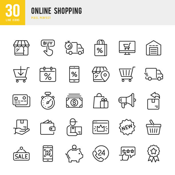 Online Shopping - thin linear vector icon set. Pixel perfect. The set contains icons such as Shopping, E-Commerce, Store, Discount, Shopping Cart, Delivering, Wallet, Courier and so on. Online Shopping - linear vector icon set. Outline stroke expanded. Pixel perfect. The set contains icons such as Shopping, E-Commerce, Store, Discount, Shopping Cart, Delivering, Wallet, Basket, Credit Card, Courier and so on. for sale stock illustrations