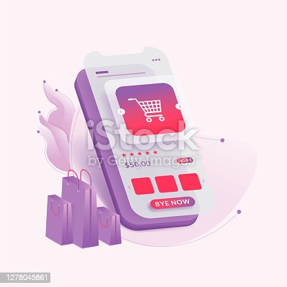 Online shopping through mobile. Online shopping on shopping site. Special offer.