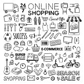 Online shopping vector doodle icons on white background. Hand drawn commerce and buying symbols and signs collection