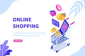 Online shopping concept. Can use for web banner, infographics, hero images. Flat isometric vector illustration.