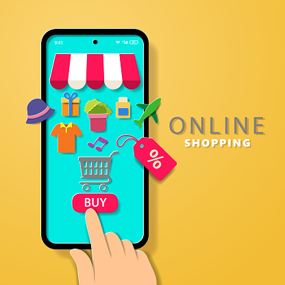 Paper craft of online shopping with customer buying anything from online store through mobile phone