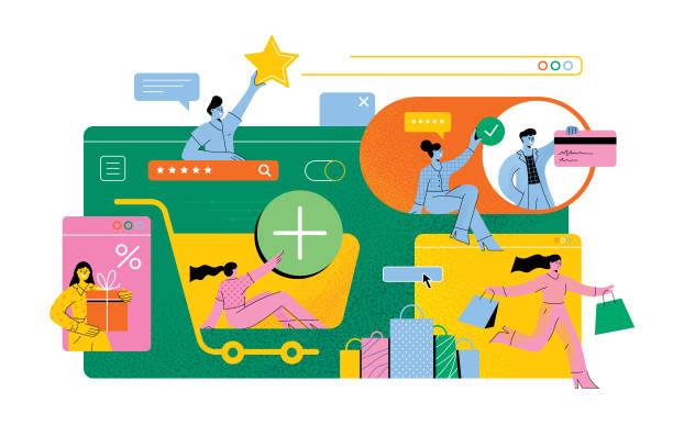 zakupy online - handel detaliczny stock illustrations