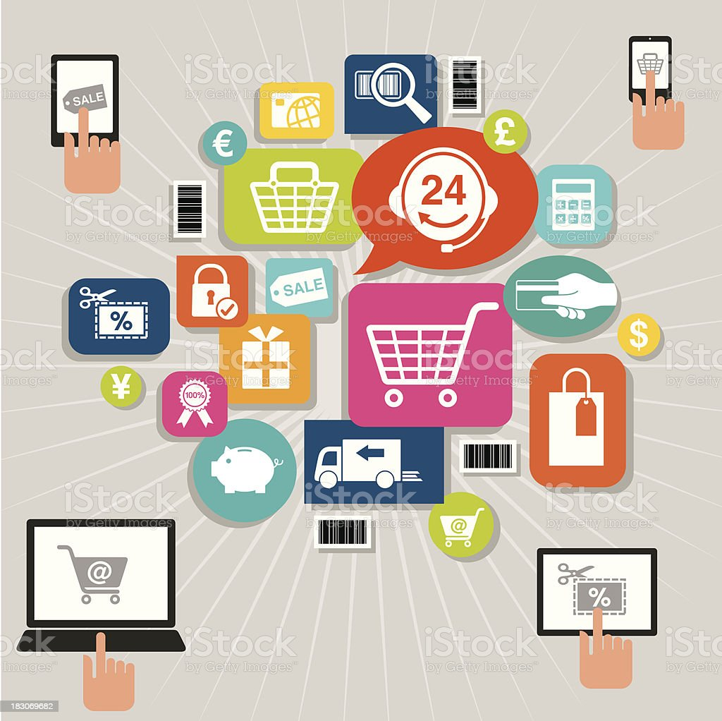 Online Shopping royalty-free online shopping stock vector art & more images of 24 hrs