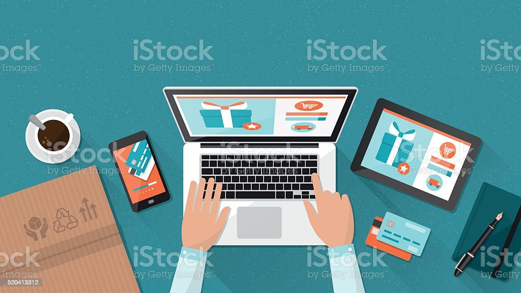 Online-shopping – Vektorgrafik