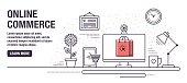 Flat line design web banners for online shopping. Vector illustration.